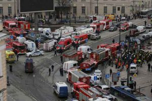 General view of emergency services attending the scene outside Sennaya Ploshchad metro station, following explosions in two train carriages in St. Petersburg, Russia April 3, 2017. REUTERS/Anton Vaganov