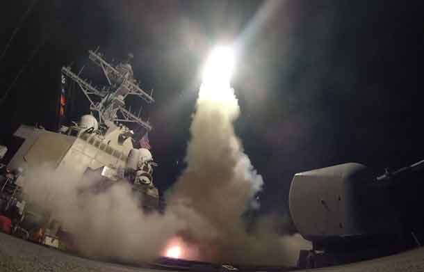 U.S. Navy guided-missile destroyer USS Porter (DDG 78) conducts strike operations while in the Mediterranean Sea which U.S. Defense Department said was a part of cruise missile strike against Syria on April 7, 2017. Ford Williams/Courtesy U.S. Navy/Handout via REUTERS