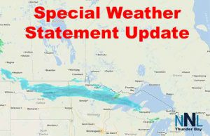 The band of precipitation will slide into Northwestern Ontario creating a late-season winter storm