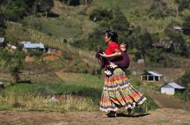An indigenous woman carries a child on her back while walking down a road in the village of Pambach, in the Alta Verapaz region, about 209 km (130 miles) from Guatemala City, February 20, 2014. REUTERS/Jorge Dan Lopez