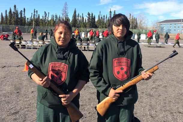 Tara Wabano, 13, of Fort Hope, and Darian Bluecoat, 14, of Fort Severn were part of the Junior Canadian Ranger shooting team representing Northern Ontario.
