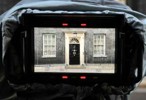 Door of Number 10 Downing Street is seen on the morning after Britain's election in London, Britain June 9, 2017. REUTERS/Hannah McKay