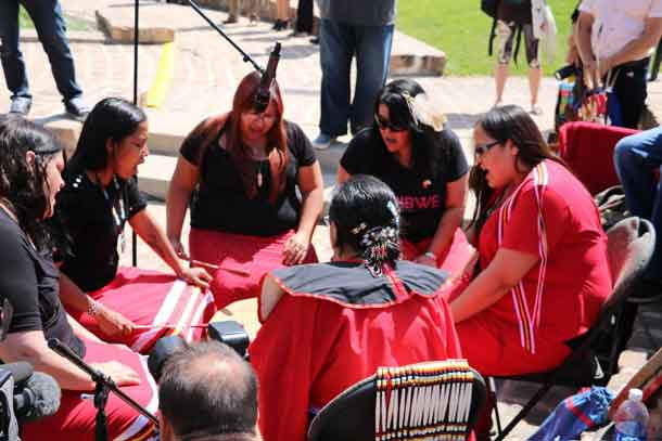 Drummers at Signing Ceremony for Indigenous Accord in Winnipeg