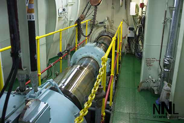 Propeller shaft onboard the Algoma Equinox