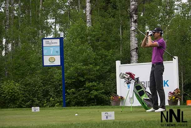Chris Killmer of Seattle sizes up the 7th hole at Whitewater during the Bumper to Bumper Pro Am on Tuesday