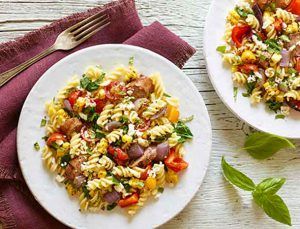 Grilled Sausage, Corn and Fusilli Pasta