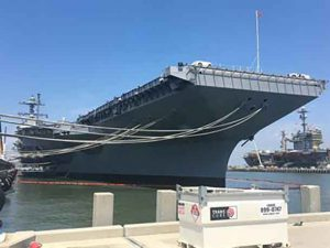 The USS Gerald R Ford super carrier was launched on Saturday