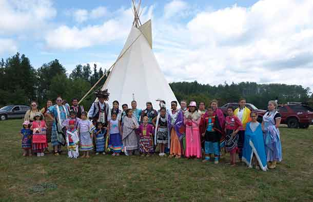 photo by Xavier Kataquapit  THE SEVENTH ANNUAL MATTAGAMI FN POW WOW was held on August 19 and 20. Pictured are the traditional dancers who took part in the gathering.