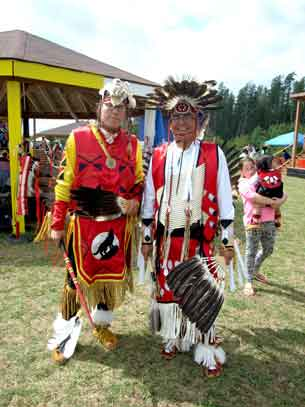 Dancers at the 7th Annual Mattagami FN Pow Wow are (left) Mark Carpenter, Thunder Creek Drum Group of Timmins, Ontario and Charlie Kioke, Attawapiskat, Ontario