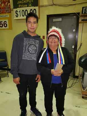 Chief Celia Echum with GFN youth Anawtyn Rasevych