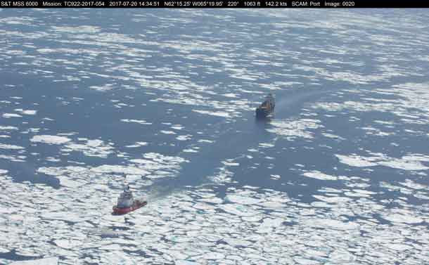 CCGS Terry Fox in Baffin Bay on July 20, 2017, escorting M/V TAœGA DESGAGN…S. Photo credit: Marine Aerial Reconnaissance Team (Central & Arctic), Canadian Ice Service, Environment and Climate Change Canada (ECCC)