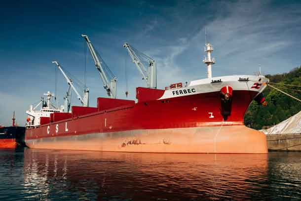 M.V. Ferbec, the largest conventional geared bulk carrier in the Canadian domestic fleet now operating for CSL.
