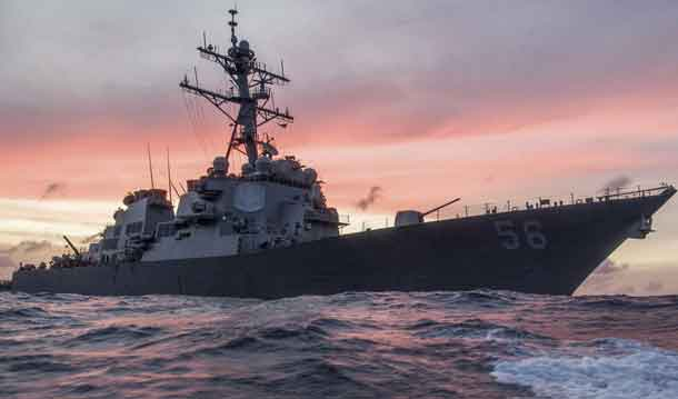 he guided-missile destroyer USS John S. McCain conducts a patrol in the South China Sea, Jan. 22, 2017, while supporting security efforts in the region. The ship was involved in a collision with a merchant vessel east of the Straits of Malacca and Singapore on Aug. 20, 2017 -- Aug. 21 in U.S. time zones. Navy photo by Navy Petty Officer 3rd Class James