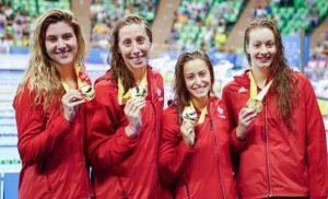 Canada won gold in the swimming pool.