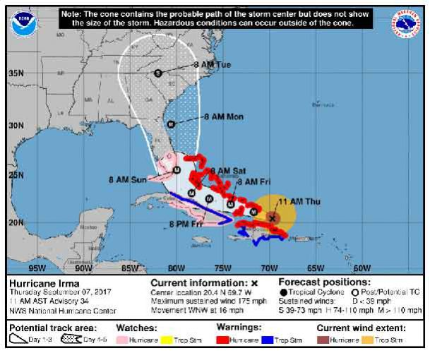 Hurricane Irma is bearing down with a forecasted landfall in the United States this weekend