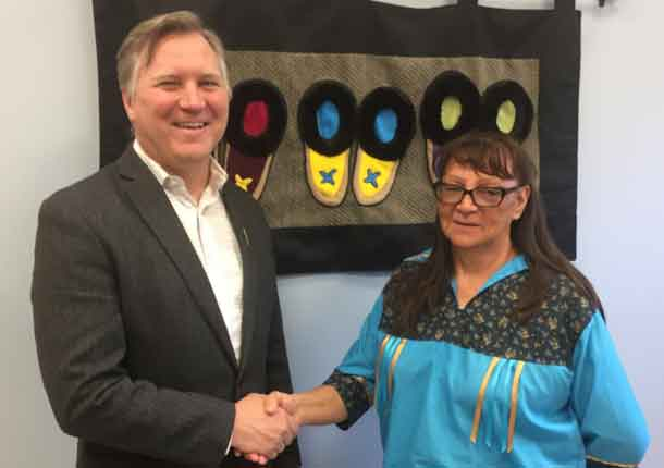 Minister Feehan with Chief Germaine Anderson, Beaver Lake Cree Nation.