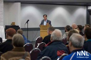 An audience of just under seventy people came out to Councillor Frank Pullia's Town Hall on Economic Development