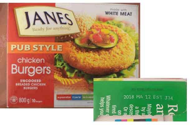 Janes Chicken Burgers and Popcorn Chicken Recall