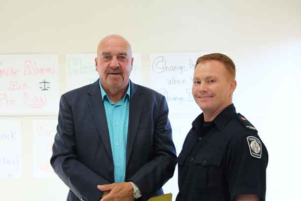 Mayor Keith Hobbs and Anthony Stokaluk kick off fire prevention week