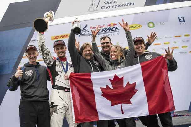 Pete McLeod of Canada celebrates with his team during the World Championship Award Ceremony at the eighth round of the Red Bull Air Race World Championship at Indianapolis Motor Speedway, United States on October 15, 2017. // Joerg Mitter / Red Bull Content Pool
