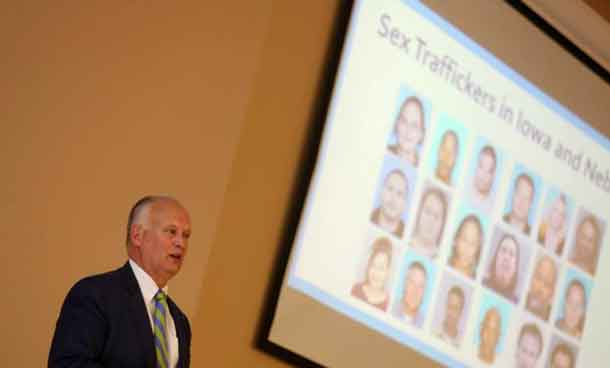 "Nebraska Attorney General Doug Peterson talks about sex traffickers in Iowa and Nebraska during a human trafficking seminar, where opponents of the proposed Keystone XL Pipeline expressed concerns that ""man camps"" created during construction of the pipeline might bring the sex trade to their area in O'Neill, Nebraska, U.S. April 12, 2017. Picture taken April 12, 2017. REUTERS/Lane Hickenbottom"