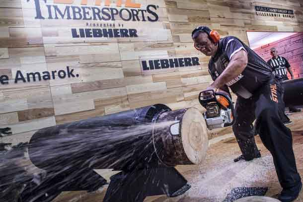 New Zealand's Jason Wynyard competes at the Stock Saw. In the end, he wins the STIHL TIMBERSPORTS World Championship 2017. (PRNewsfoto/STIHL TIMBERSPORTS Series)