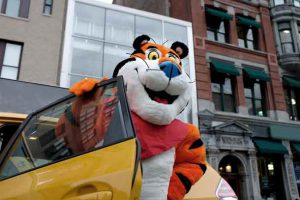 Tony the TigerÆ arrives outside of the new Kelloggís NYC CafÈ in Union Square, which opens on December 7, 2017.