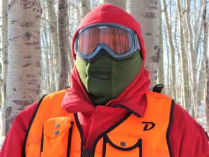 Rangers Hondy Atlookan of Eabametoong First Nation protected his face from the cold during a field exercise in Nibinamik.