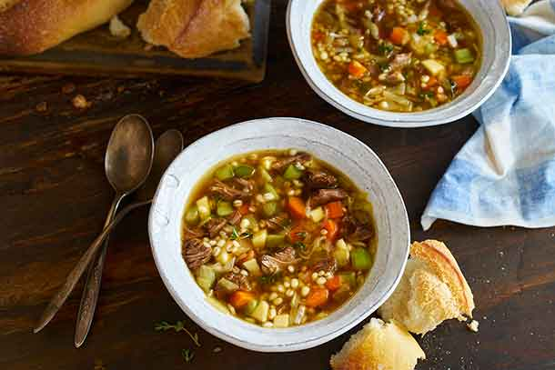 Chase your winter chills away with this simple and flavour-packed soup, featuring beef, barley and vegetables. Serve with a crusty baguette for an easy and comforting winter meal.