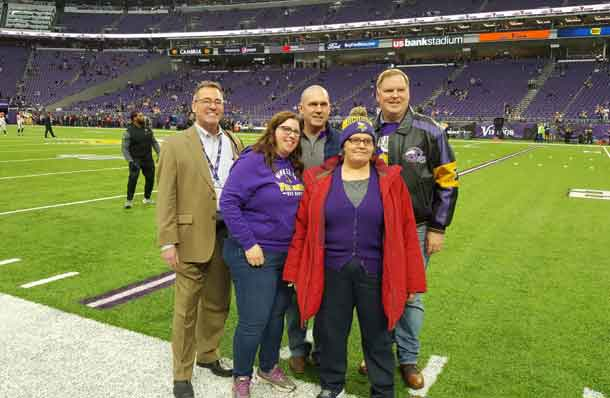 Through the generosity of the Minnesota Vikings and Hotel Ivy, Cook County Minnesota was able to provide one of its employee battling cancer a special trip to a Vikings Game on Sunday