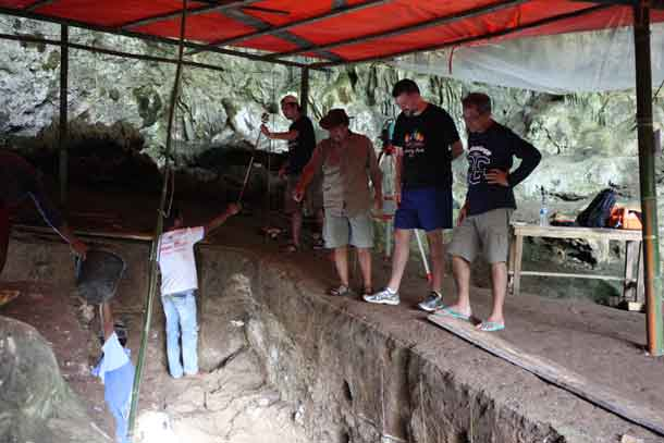 Dr. Matt Tocheri, second from right, is pictured at the Liang Bua site with Dr. Thomas Sutikna, third from right.