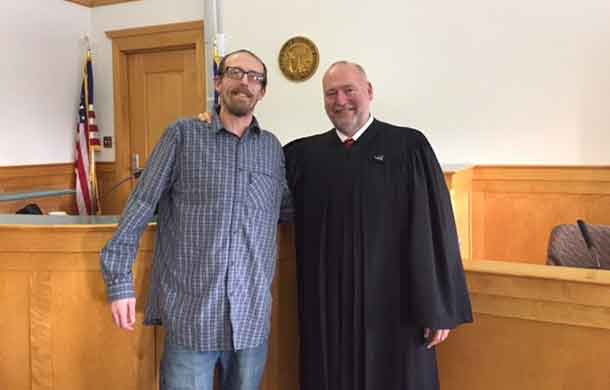 Tom Young, Cook County Substance Use Recovery Court participant, with Assistant Chief Judge Michael J. Cuzzo - Sixth Judicial District, was awarded the Treatment Court Scholarship through Mesabi Range Community College for Spring semester. Tom is currently enrolled and is working towards his Licensed Alcohol and Drug Counselor designation.