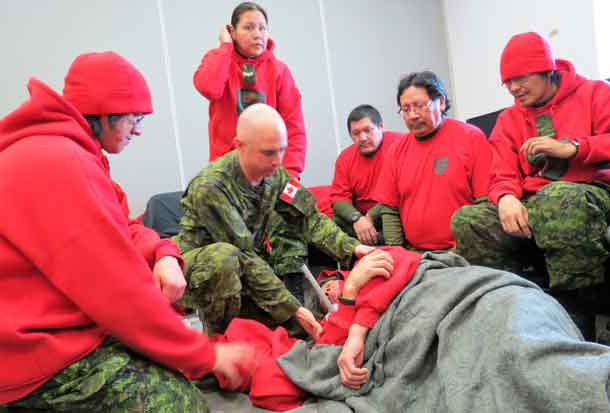 Warrant Officer Carl Wolfe instructed Rangers in first aid.