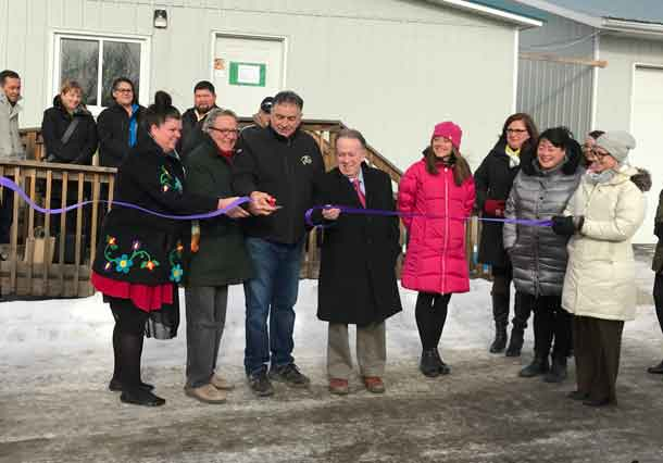 Min. David Zimmer, Min. Michael Gravelle, Chief Peter Collins (Fort William FN) and MIRR Deputy Minister Deborah Richardson at opening of the Indigenous Youth and Community Wellness Secretariat office.