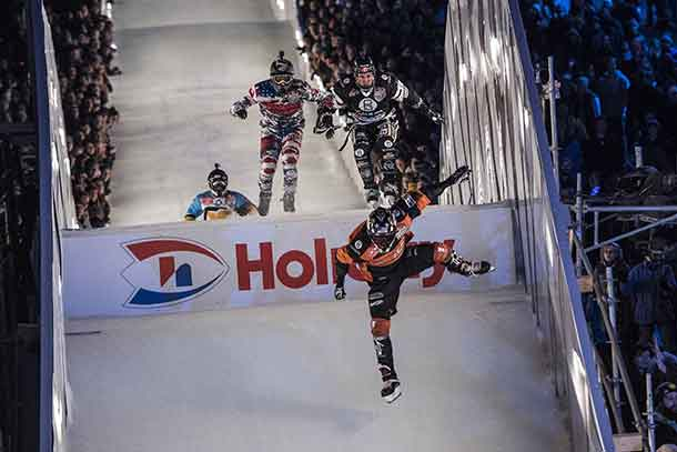 Scott Croxall of Canada, Cameron Naasz of the United States, Marco Dallago of Austria Michael Iulianello of the United States compete during the finals at the third stage of the ATSX Ice Cross Downhill World Championship at the Red Bull Crashed Ice in Saint Paul, Minnesota, United States on January 20, 2018. - Joerg Mitter - Red Bull Content Pool