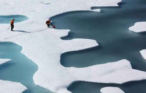Melting sea ice is forming characteristic puddles on its surface. Image - NASA Goddard Space Flight Center