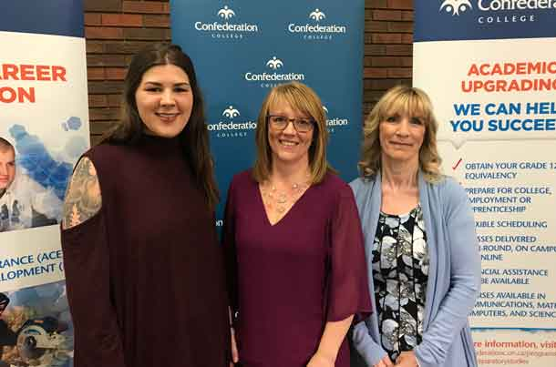 200 Academic Upgrading students were recognized during Learner Recognition Day. Manager of Academic Upgrading Carol Cline (centre) is joined by students Sarah Staver (left) and Gail Hamilton, both recognized at the ceremony.