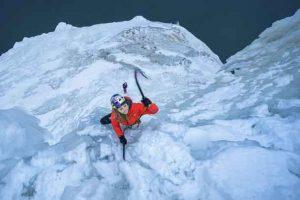 Sasha DiGiulian leads the Bridal Veil climb the Upper Peninsula of Michigan, USA, on 18 January, 2018. // Andy Mann / Red Bull Content Pool //