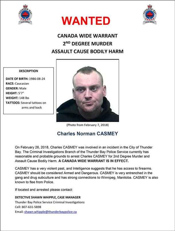 Murder Suspect on Canada Wide Warrant