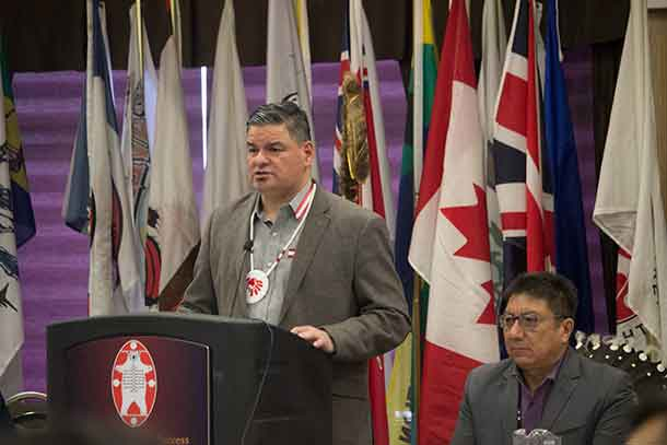 Ontario Regional Chief Day - NAN Winter Chief's Assembly making his report to the Nishnawbe Aski Nation Chiefs