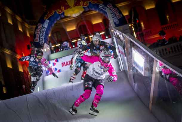 Jacqueline Legere of Canada, Sandrine Rangeon of France, Anais Morand of Switzerland and Amanda Trunzo of the United States compete during the finals of Women at the seventh stage of the ATSX Ice Cross Downhill World Championship at the Red Bull Crashed Ice in Marseille, France on February 17, 2018. // Sebastian Marko/Red Bull Content Pool //