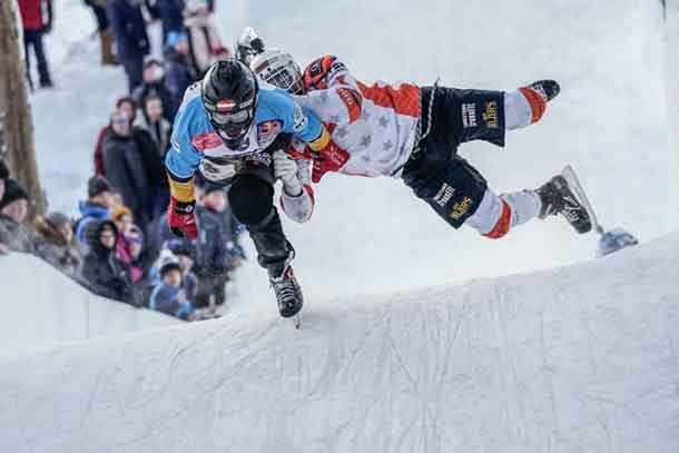 Exciting action at Red Bull Crashed Ice competition in Finland