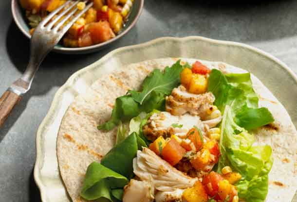Grilled Pickerel with Fruit and Corn Salsa - Image Foodland Ontario