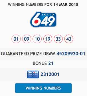 March 14 2019 Lotto 649 numbers