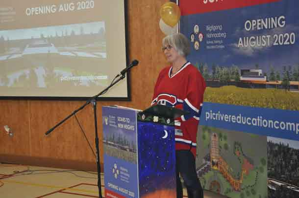Minister Patty Hajdu sporting her Montreal Canadians Jersey speaks at the ground breaking ceremony