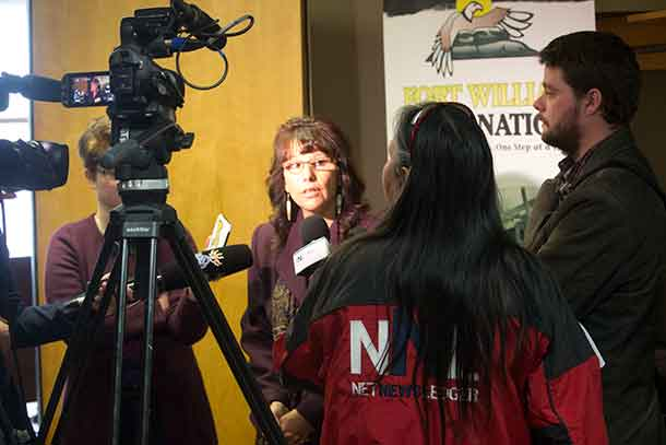 Dean Angelique Eaglewoman speaks with media following press conference at Fort William First Nation