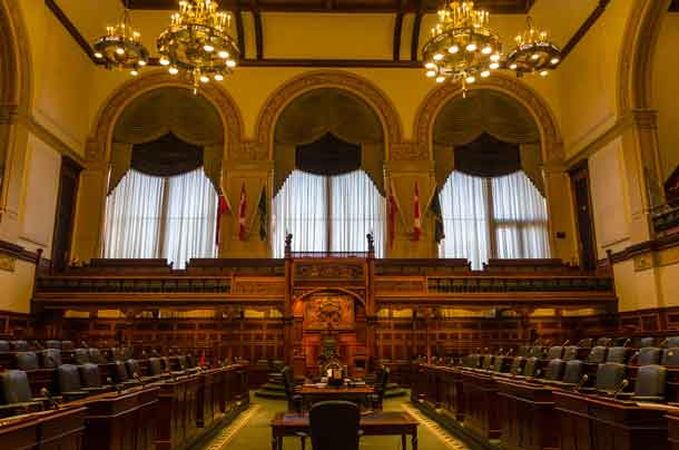 Interior of Queen's Park legislative buildings. Designed by architect Richard A. Waite; its construction begun in 1886 and it was opened in 1893.