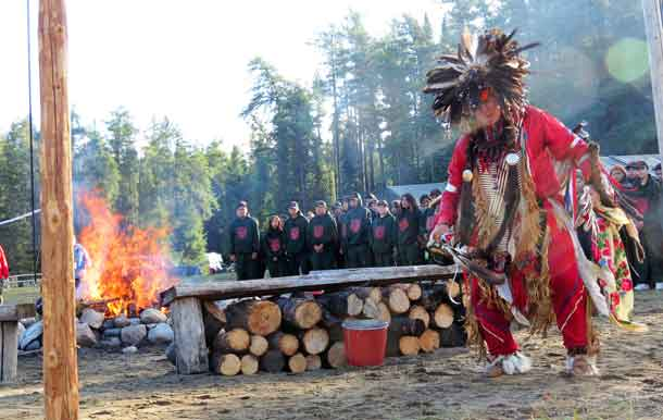 Master Corporal Donny Sutherland of Constance Lake First Nation dances on the opening day of Camp Loon.