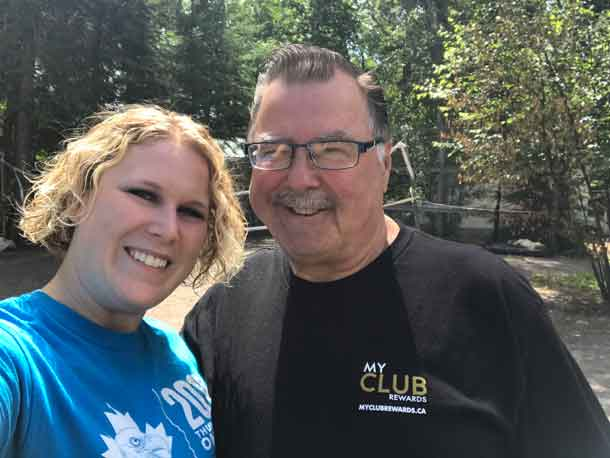 Director Ashleigh with Camp Duncan Groundskeeper Bill, who helped make sure the property was ready for our CQ takeover.