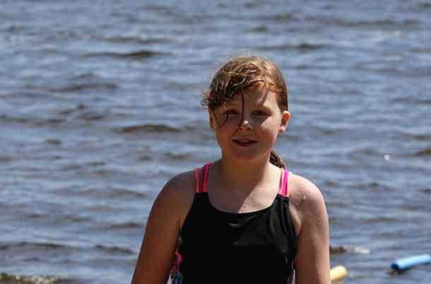 Camper Nevaya enjoying the water of Loon Lake today.